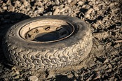 Old tire in the dirt
