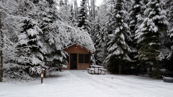 winter cabin scene
