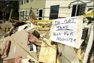 Flood debris for adjuster to see