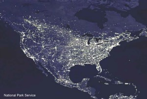 image of light pollution in United States