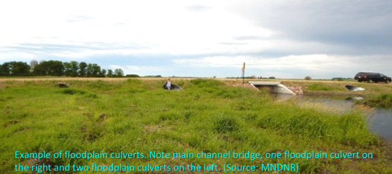 Photo of bridge with 3 floodplain culverts in the floodplain to the side