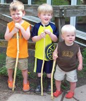 kids with hiking sticks