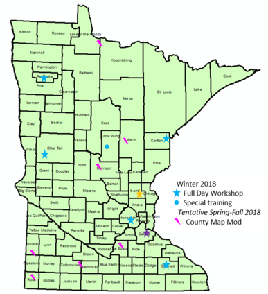 MN map showing location of 2018 trainings
