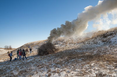 Brush pile burning
