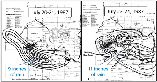 "Maps showing area of storms with up to 9"" July 20-21 and 11"" July 23-24, 1987 in western Twin Cities"