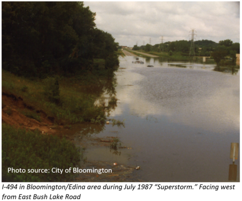 July 1987 flooded I-494 area in Bloomington & Edina