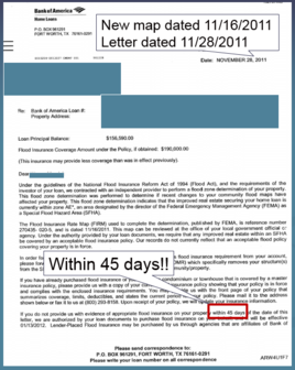 Example of 45 day letter from lender saying insurance required