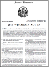First page of Wisconsin Act 67