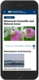 Smart phone showing DNR webpage