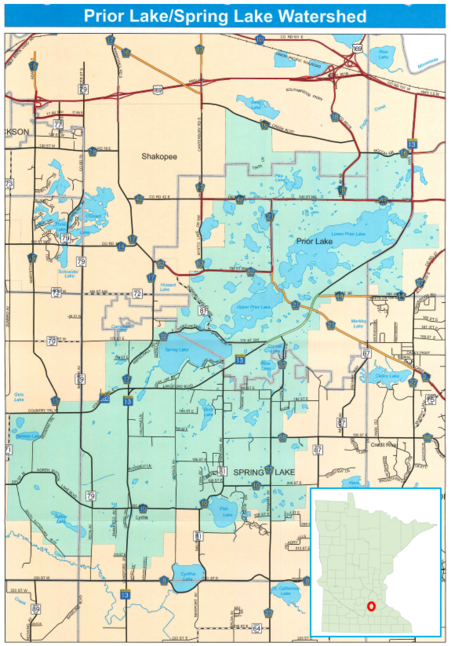Prior Lake - Spring Lake Watershed District map - in Scott County