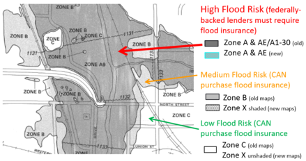 Map showing high, medium and low risk zones