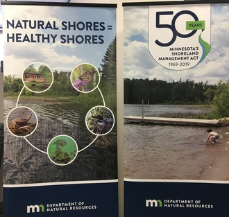 Banner with Shoreland Management 50th icon & Natural Shores = Healthy Shores with butterfly, fish, cabin, turtle and loon photos