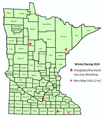 state of MN map showing listed training locations