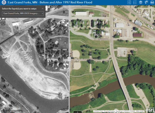 """""""Before and After Swipe Map"""" example using East Grand Forks map in the story book"""