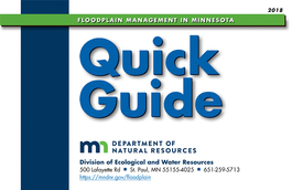 2018 Floodplain Management in Minnesota Quick Guide cover