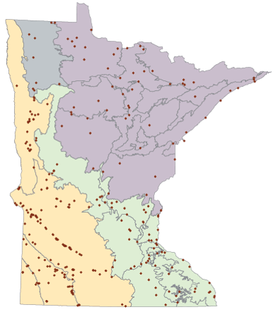 Map of sites preserved by the Scientific and Natural Areas Program