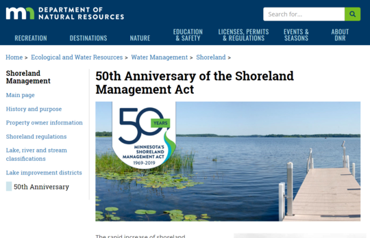 Shoreland Management program 50th anniversary home page image