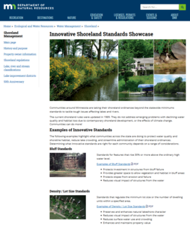 Screen shot of DNR's Innovative Shoreland Standards page