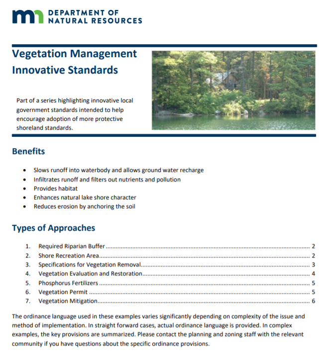 Vegetation Management Innovative Standards page 1 image
