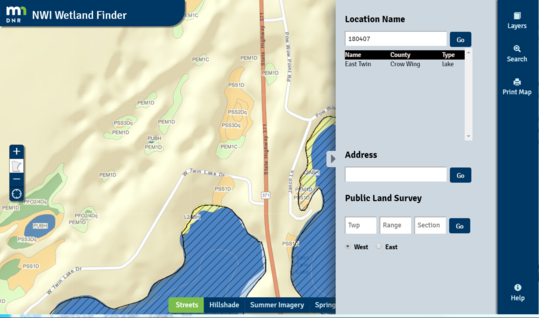 Example clip showing NWI mapping and public waters (with the cross-hatching)