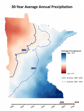 """MN map - 36"""" in SE ranging to 17.5"""" in NW.  26"""" line for 1989-2018 has shifted west vs 26"""" line for 1895-1924"""