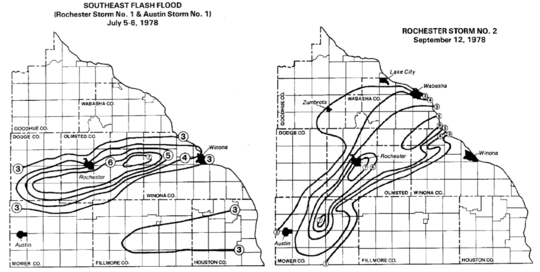 """1978 rainfall distribution in Rochester area.  6-7"""" band in July and 7-8"""" band in September."""