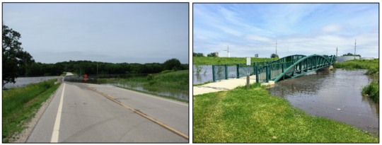 Left: Floodwaters crossing roadway.  Right: Floodwaters at bottom of pedestrian bridge.
