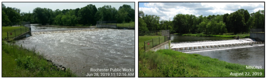 Lots of water in June 28, 2019 photo on left, and much less during baseflow on August 22, 2019