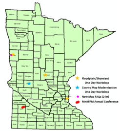 MN map showing locations of fall training sites