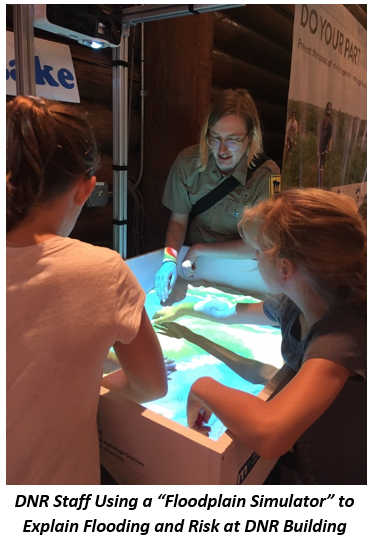 DNR staff show fairgoers how the floodplain simulator works