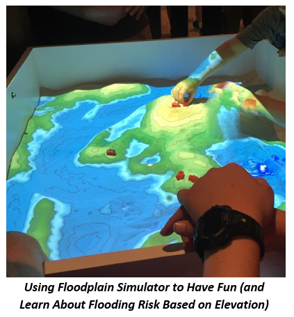 Close up of the floodplain simulator being used at fair to show flood risk relative to elevation