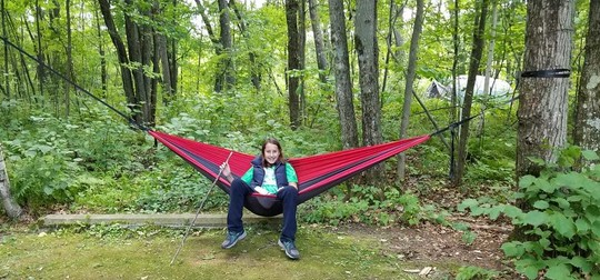 Child on hammock at Mille Lacs Kathio State Park
