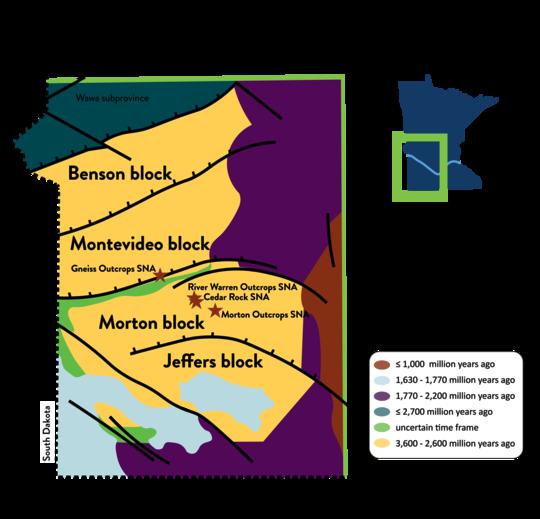figure of tectonic blocks in Minnesota