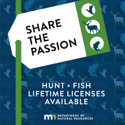 Share the passion, hunt, fish, lifetime licenses available Minnesota DNR logo