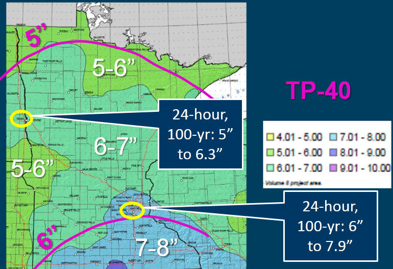 Comparison of TP40 versus Atlas 14 24-hour 100-year precipitation in MN