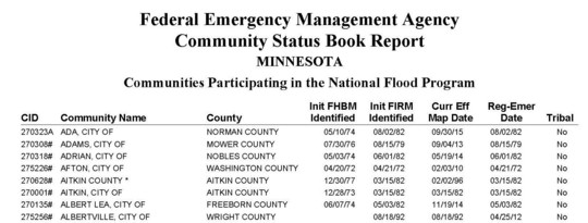 View of Community Status Book for Minnesota page 1