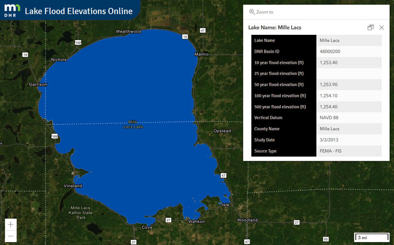Mille Lacs Lake example of LFEO with aerial photo and box showing flood elevations