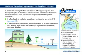 Quick Guide page showing minimum elevations in Shoreland District