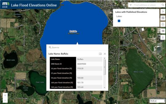 Lake Flood Elevations Online sample view