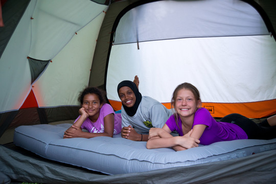 Hanging out inside the tent