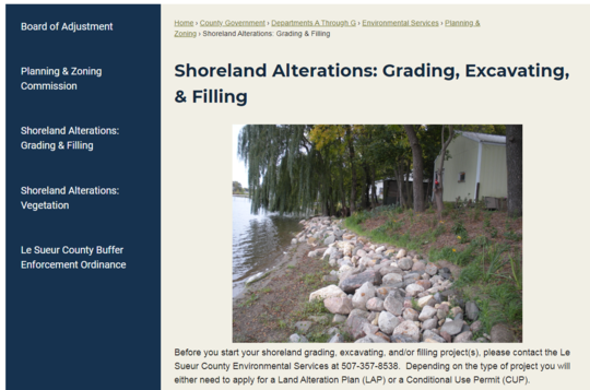 Clip from Le Sueur County web site with links to Land Alteration and Vegetation alteration plans