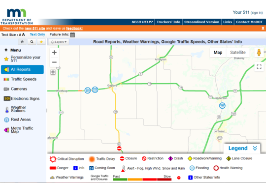 MNDOT 511 map showing flood symbols at roads closed due to flooding