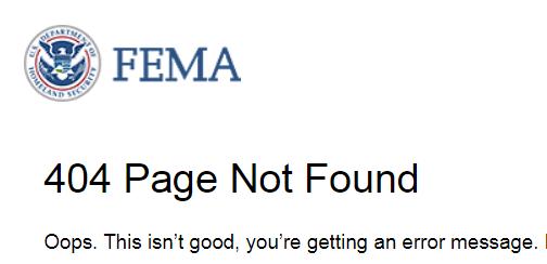 FEMA site 404 error message