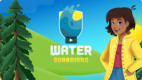 Clip of Water Guardians video with logo, trees and girl in raincoat