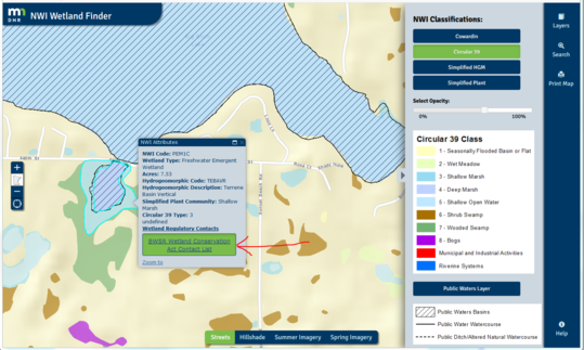 Example page on DNR's NWI Wetland Finder interactive map