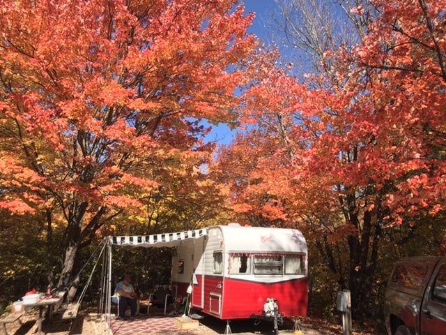 Camper van in the fall