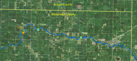 Map showing locations of culvert projects