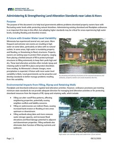 Administering & Strengthening Land Alteration Standards near Lakes and Rivers