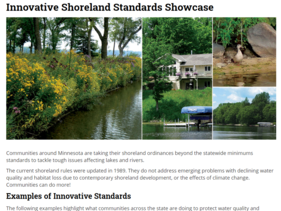Clip of DNR's Innovative Shoreland Standards Showcase page