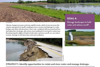 Clip from State Water Plan showing Goal 4 options to retain and store water involving agriculture and roadway